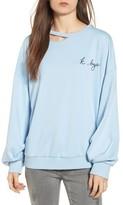 Lush Women's Embroidered Cutout Sweatshirt