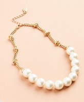 Brooks Brothers Glass Pearl and Knotted Chain Necklace