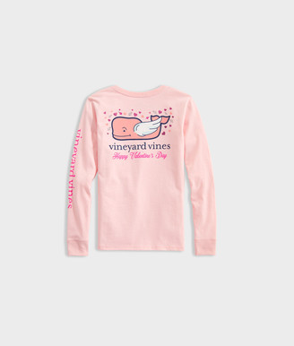 Vineyard Vines Girls' Valentines Day Whale Long-Sleeve Pocket Tee