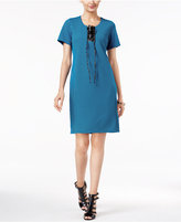 NY Collection Faux-Leather Lace-Up Shift Dress