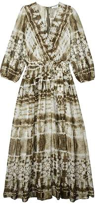 Calvin Klein Chiffon Tie-Dye Maxi (Caper Multi) Women's Dress
