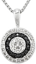 FINE JEWELRY 1/3 CT. T.W. White and Color-Enhanced Black Diamond Circle Pendant Necklace
