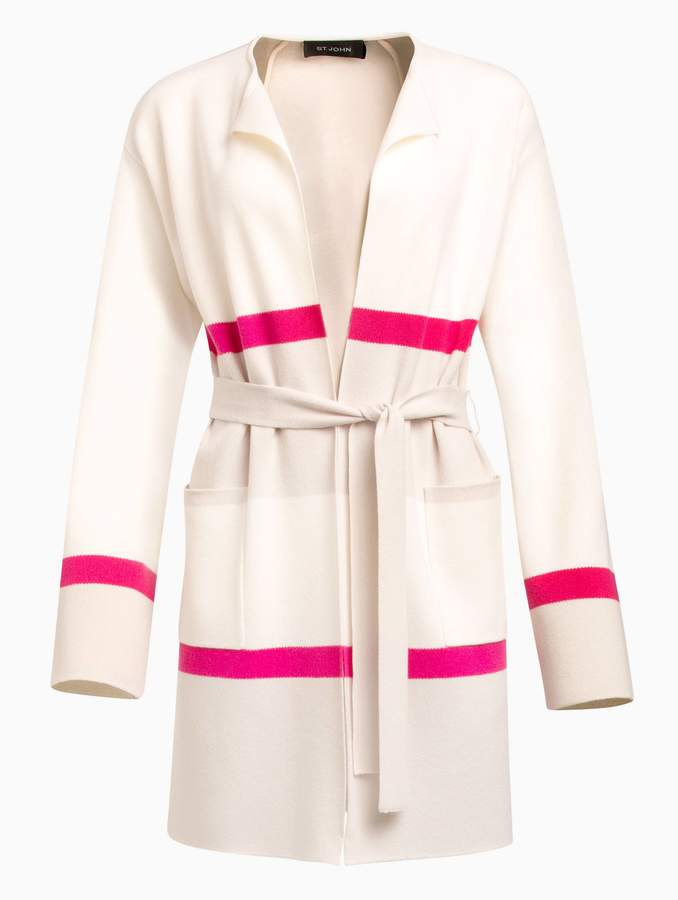 St. John Felted Color Block Wool Cashmere Blend Knit Cardigan