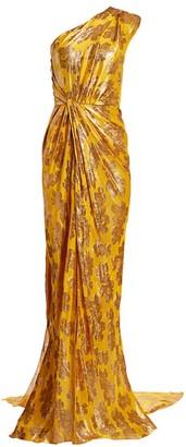 Monique Lhuillier One-Shoulder Draped Gown