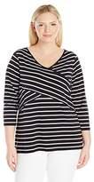 Calvin Klein Women's Plus Size L/s Striped Panel Top