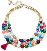 lonna & lilly Gold-Tone Colored Bead Multi-Layer Tassel Necklace