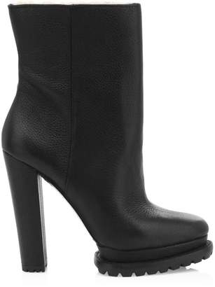 Alice + Olivia Holden Platform Shearling-Lined Leather Boots
