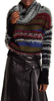 Desigual Cowl Neck Multi Color Fuzzy Sweater
