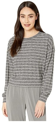 Splendid Ribbed Long Sleeve Pullover (Heather Charcoal/Oatmeal Stripe) Women's Clothing