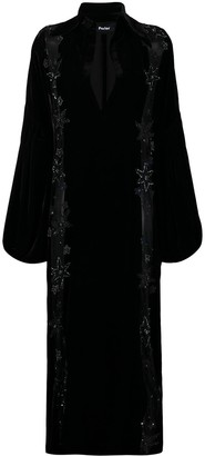Parlor Sheer Panelled Velvet Evening Gown