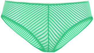 Les Girls Les Boys Striped Stretch-mesh Mid-rise Briefs