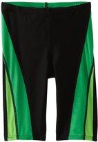 Speedo Big Boy's Youth Launch Splice Jammer Swimsuit, Black Green,/6
