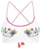 Topshop Bright embroidered crop bikini top