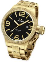 TW Steel Unisex 45mm Canteen Hammered Mid-Piece Watch in Gold-Plated Stainless Steel with Black Dial
