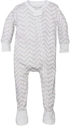 Burt's Bees Chevron Bee Organic Baby Zip Front Snug Fit Footed Pajamas