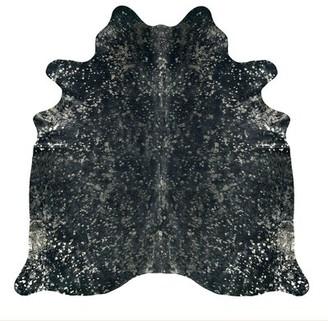 Saddlemans Abstract Handmade Cowhide Storm Gray/Black/Green Area Rug