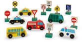Melissa & Doug Wooden Vehicles and Traffic Signs Set