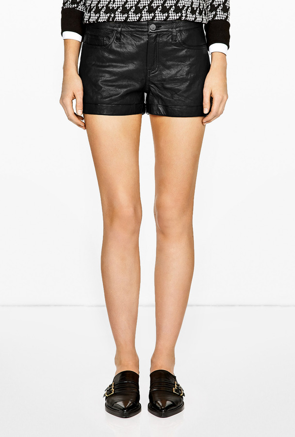 Theory Ford Leather Rizda L Shorts
