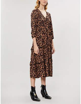 BA&SH Tracy leopard-print crepe midi dress