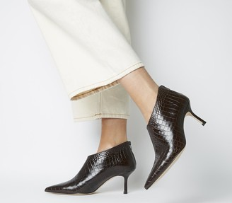 Office Macs Pointed Shoeboots Brown Croc Leather