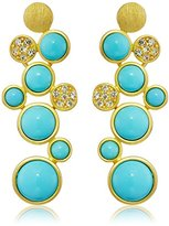 Kenneth Jay Lane Gold-Plated Rhinestone and Turquoise-Color Drop Earrings