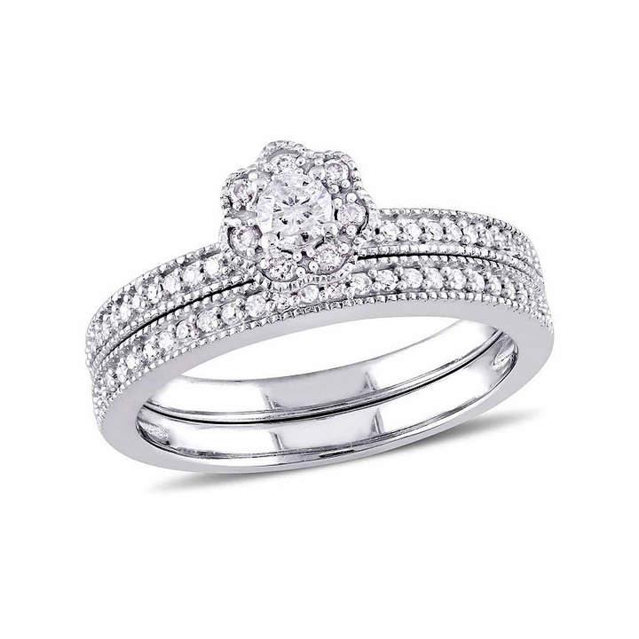 Laura Ashley MODERN BRIDE Womens 3/8 CT. T.W. Genuine White Diamond 10K Gold Bridal Set