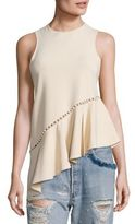Jonathan Simkhai Beaded Asymmetrical Peplum Top
