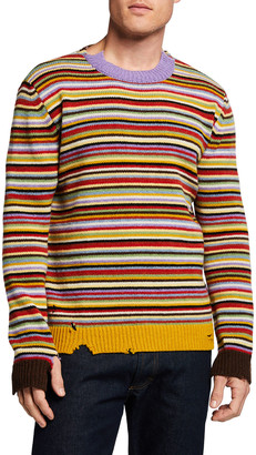 Marni Men's Distressed Multi-Stripe Crewneck Sweater