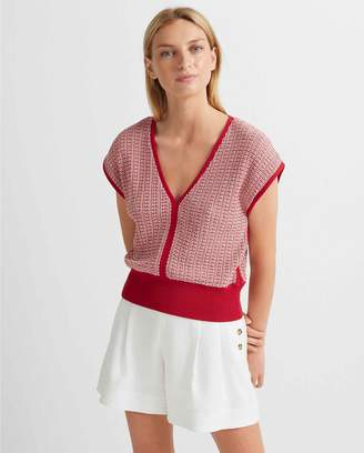 Club Monaco Short Sleeve V-Neck Sweater