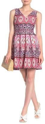 Vince Camuto V-Neck Printed Fit & Flare Dress