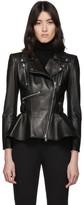 Alexander McQueen Black Leather Peplum Jacket