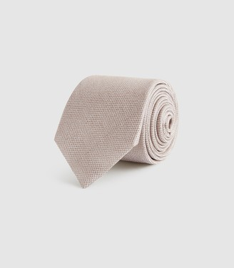 Reiss CEREMONY TEXTURED SILK TIE Champagne