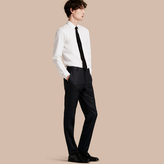 Burberry Slim Fit Check Wool Tailored Trousers
