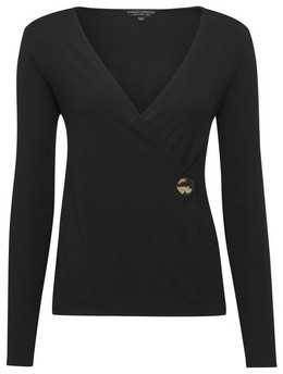 Dorothy Perkins Womens Black Long Sleeve Rib Wrap Front Top, Black