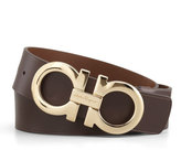 Salvatore Ferragamo Large-Gancini-Buckle Belt, Tan