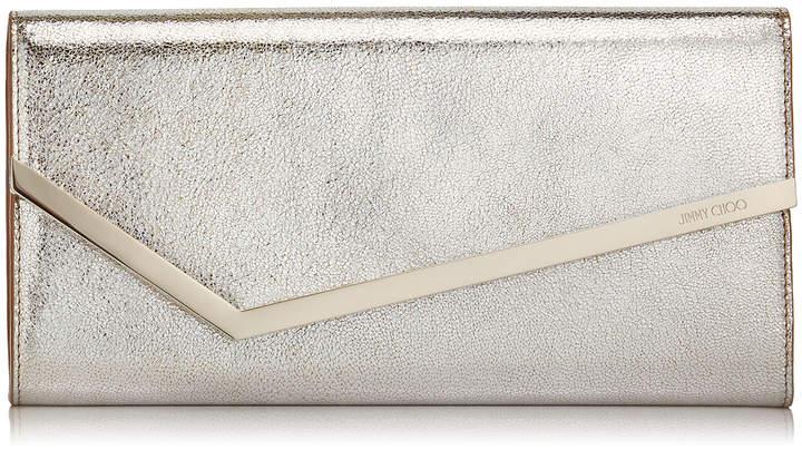 Jimmy Choo ERICA Champagne Glitter Leather Clutch Bag
