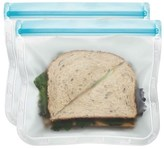 Re-Zip Lay-Flat Lunch Reusable Storage Bag 15cm Pack Of 2 Aqua