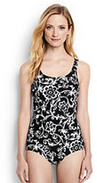 Classic Women's Long Tugless One Piece Swimsuit Soft Cup-Black/White Etched Scroll
