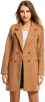 HOTOUCH Women Overcoat Jacket Double Breasted Wool Blended Pea Coat S