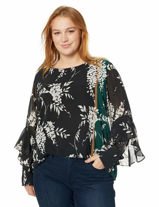 Calvin Klein Women's Plus Size Jewel Neck with Ruffle Sleeve