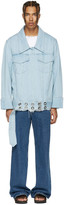 Marques Almeida Blue Denim Oversized Belted Jacket