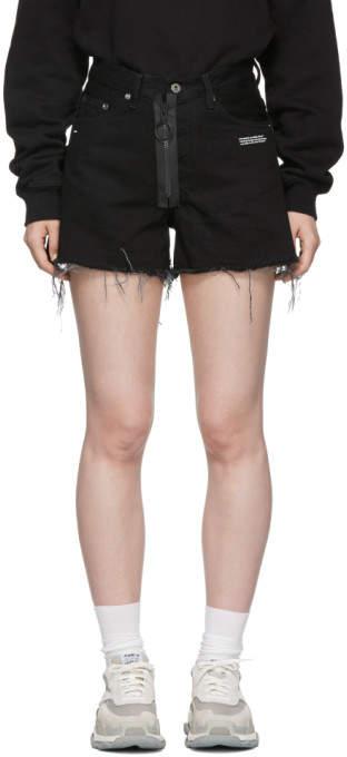 Off-White Black Vintage Flowers Denim Shorts