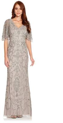 Adrianna Papell Womens Grey Beaded Mermaid Gown - Grey