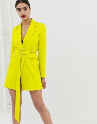 Club L London longline blazer dress with buckle detail in lime