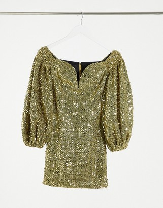 Rare London sequin mini dress in gold