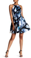 Vince Camuto Printed Scuba Halter Neck Fit & Flare Dress
