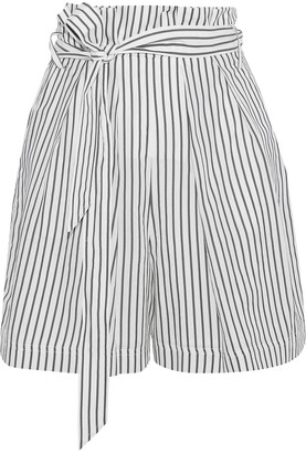 Grey Jason Wu Tie-front Striped Poplin Shorts