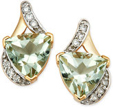 Macy's Mint Quartz (3-3/8 ct. t.w.) and Diamond (1/8 ct. t.w.) Stud Earrings in 14k Gold