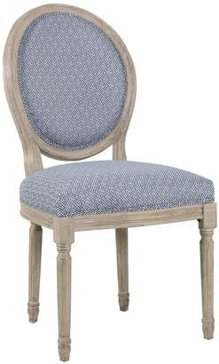 HomePop Louis Round Back Chair in Blue Diamond