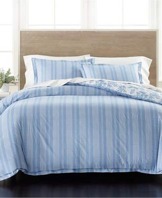 Martha Stewart Collection Percale Stripe Reversible King 3-Pc. Comforter Set